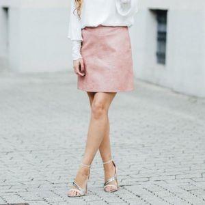 {ZARA} Pink Blush Faux Leather Vegan Mini Skirt